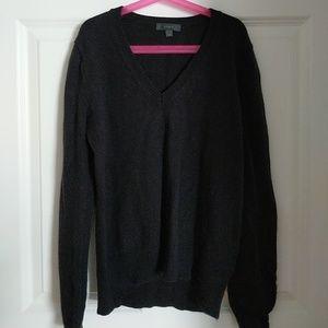 J. Crew V Neck Sweater w leather patch sleeves XXS